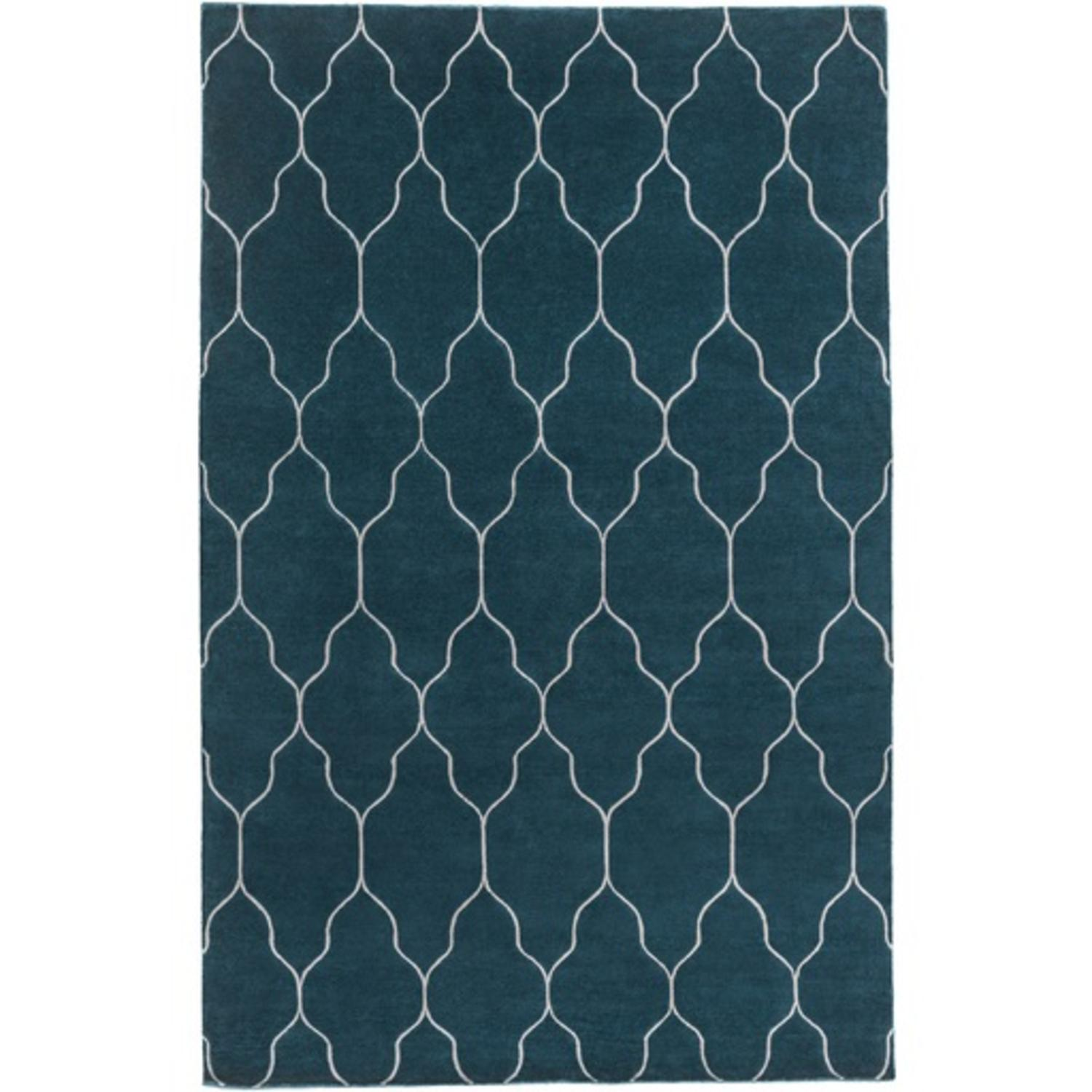 2' x 3' Chained Mysteries Teal Blue and Dove Gray Area Throw Rug