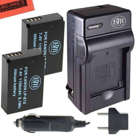 BM Premium 2-Pack Of LP-E12 Batteries & Charger Kit for Canon Rebel SL1 100D, EOS-M, EOS M2, EOS M10 Mirrorless Digital (Canon Eos Rebel Sl1 Eos 100d Instruction Manual)