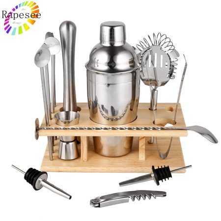 Rapesee 14 Pieces Cocktail Shaker Set Bartender Kit Bar Tools Barware, Stainless Steel Cocktail Mixer Set, Professional Cocktail Making Kit](Bar Ware)