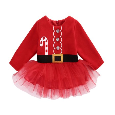 Baby Girls Long Sleeve Santa Claus Tutu Dress Top Christmas Outfits 0-3 Months - Cute Santa Dresses