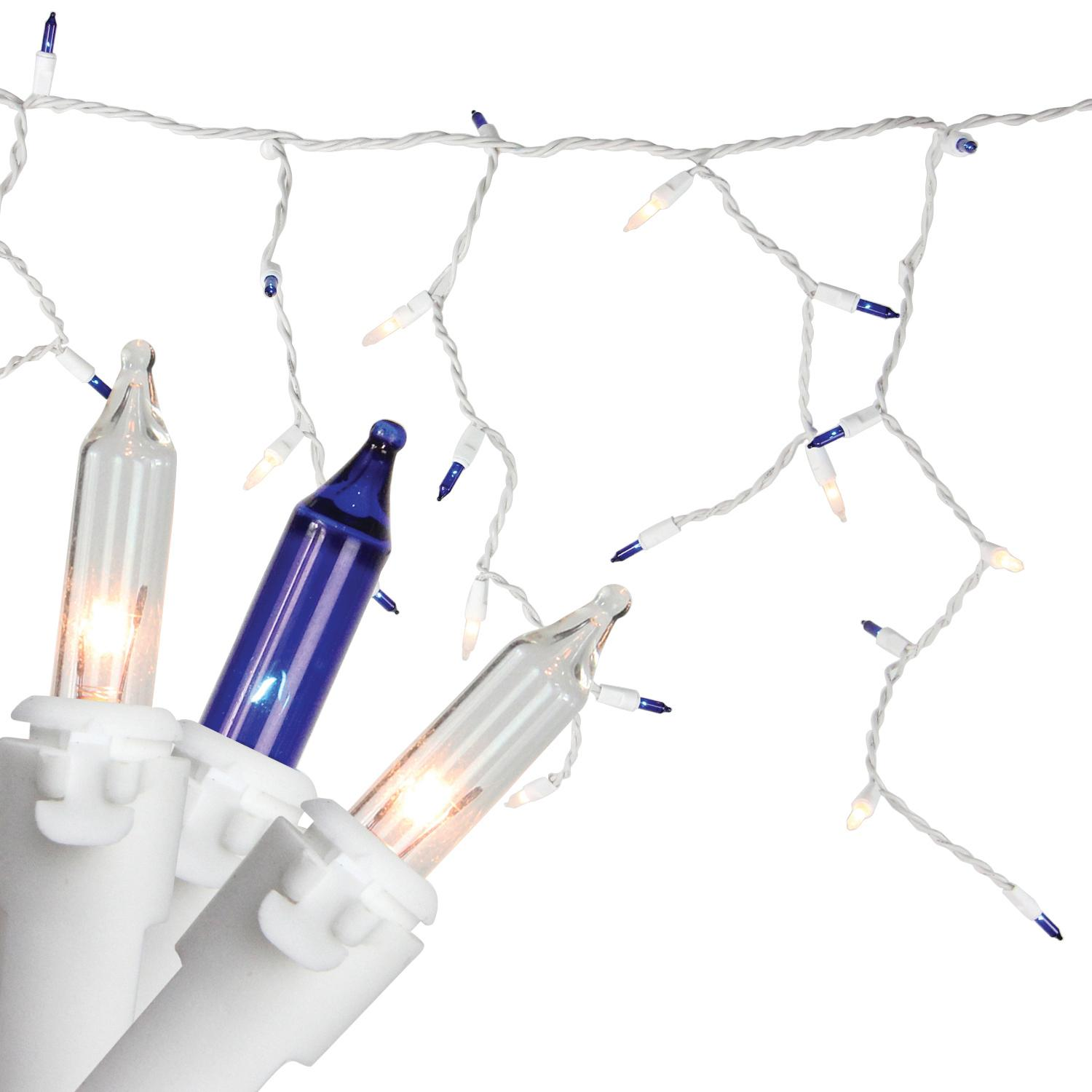 "Set of 100 Blue & Clear Mini Icicle Christmas Lights 3"" Spacing - White Wire"