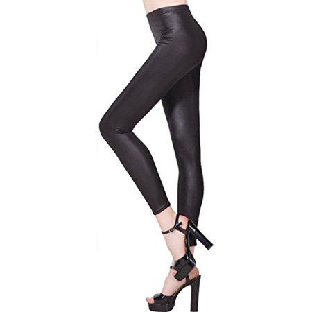 db42627d7 SAYFUT Women's Faux Leather Leggings Winter Warm Beaver Velvet Leggings  Black Tight Stretchy Trousers Leggings Size S-4XL