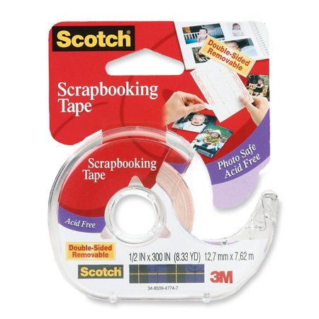 Length Dispenser Included 1 Roll (Scotch Removable Scrapbook Double Sided Tape - 0.50