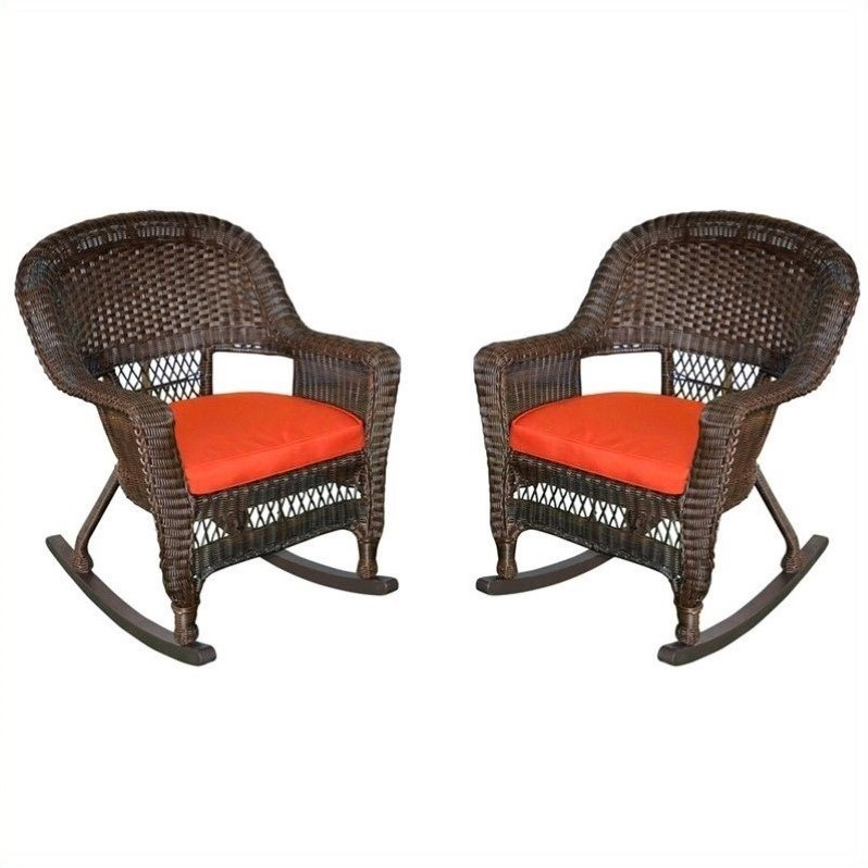 Jeco Rocker Wicker Chair in Espresso with Red Cushion (Set of 2) by Jeco Inc.
