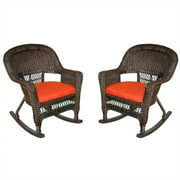 Jeco Rocker Wicker Chair in Espresso with Red Cushion (Set of 2)