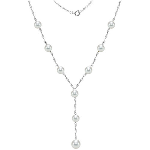 """14kt Gold 6-6.5mm Akoya Pearl Stations Lariat Necklace, 18"""" by Generic"""