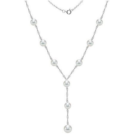 """Image of 14kt Gold 6-6.5mm Akoya Pearl Stations Lariat Necklace, 18"""" + 2"""" Drop"""