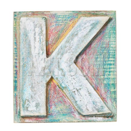 Wooden Alphabet Block, Letter K Print Wall Art By donatas1205
