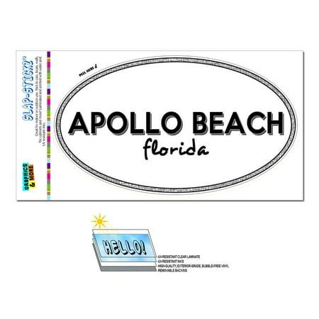 Apollo Beach, FL - Florida - Black and White - City State - Oval Laminated Sticker