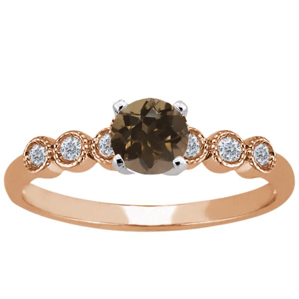 0.90 Ct Round Brown Smoky Quartz White Diamond 925 Rose Gold Plated Silver Ring