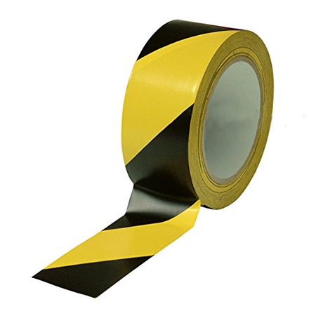 "Black & Yellow Hazard Warning Safety Stripe Tape • 2"" x 36 Yds • Ideal For Walls, Floors, Pipes And Equipment."