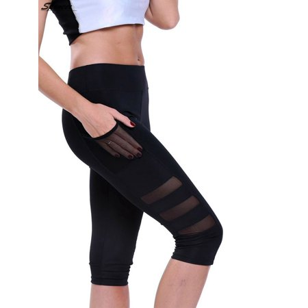 2b636c0dc5df Spencer Women's High Waist Yoga Pants with Side Pockets Capri Pants Tummy  Control Workout Running Tights Skinny Yoga Leggings Cropped Trousers