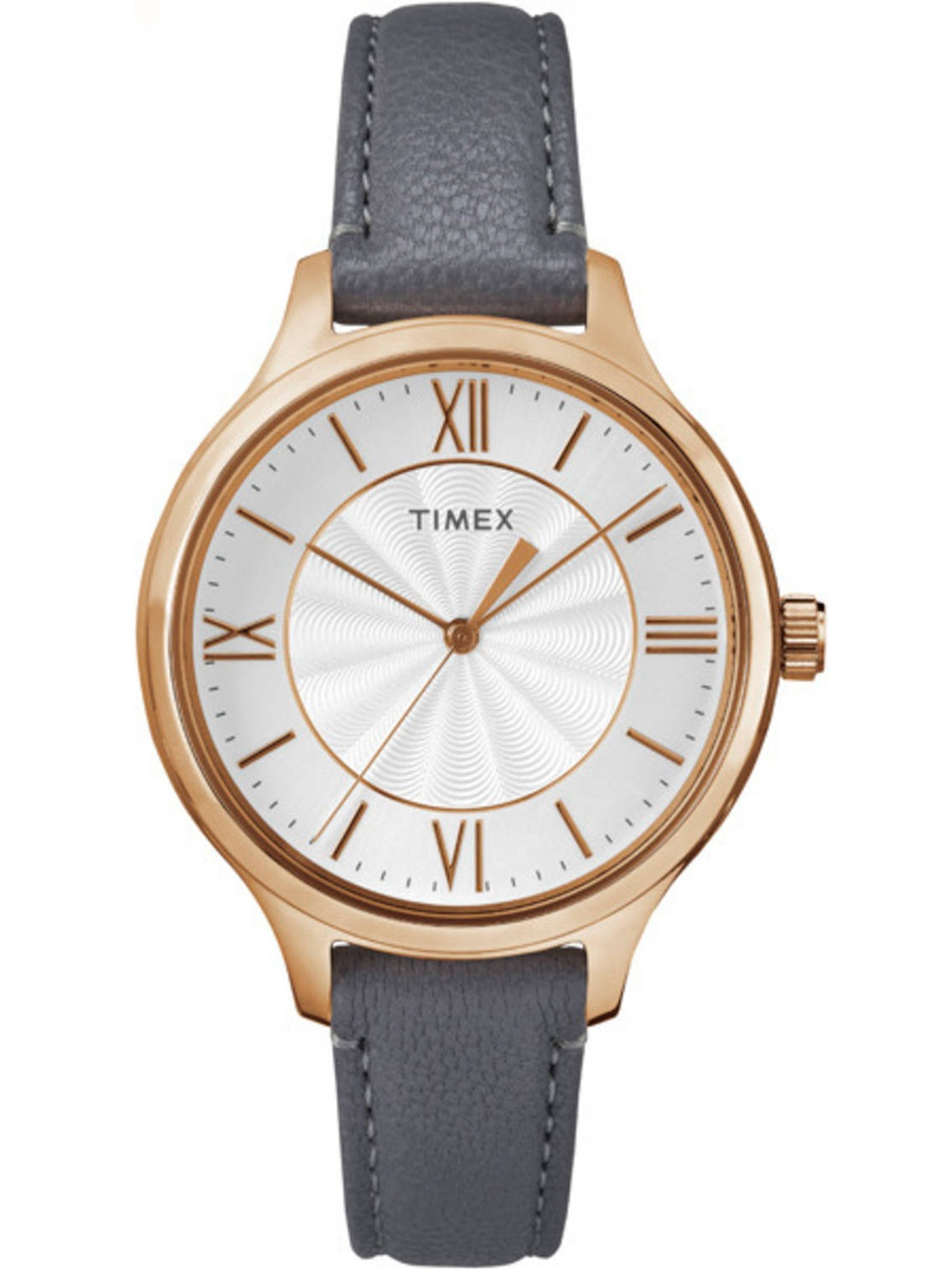 Timex Women's Peyton Rose Gold-Tone Watch, Gray Leather Strap