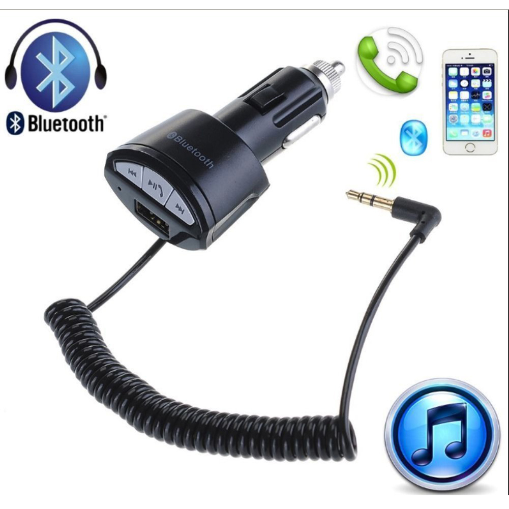 New Design Car Music Player FM Transmitter Wireless Bluetooth Car MP3 Player Car AUX Stereo Play Music Receiver Audio Adapter with Hands-free Calling Cigarette Lighter USB Car Charger