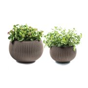 Keter Knit Cozie 11 in. & 14.2 in. dia. Small & Medium Resin 2-Piece Planter Set, Oasis White