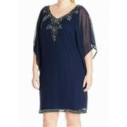 J Kara Blue Beaded Dress Women's Size 20W Plus Shift Polyester