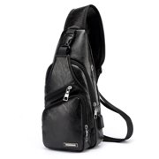Men Polyester Small Sling Chest Bag Crossbody Backpack Usb Charging Fanny Bag