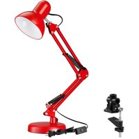 Torchstar Metal Swing Arm Desk Lamp, Interchangeable Base & Clamp for College