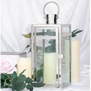 Efavormart SILVER Stainless Steel Lantern Candle Holder Tabletop Centerpiece