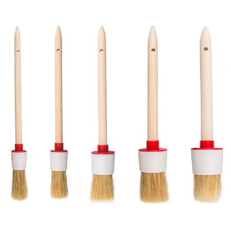 - TSV 5Pcs Soft Boar Hair Bristle Car Detailing Wash Brushes Wooden Handle for Cleaning Trim Seats Dashboard Wheels
