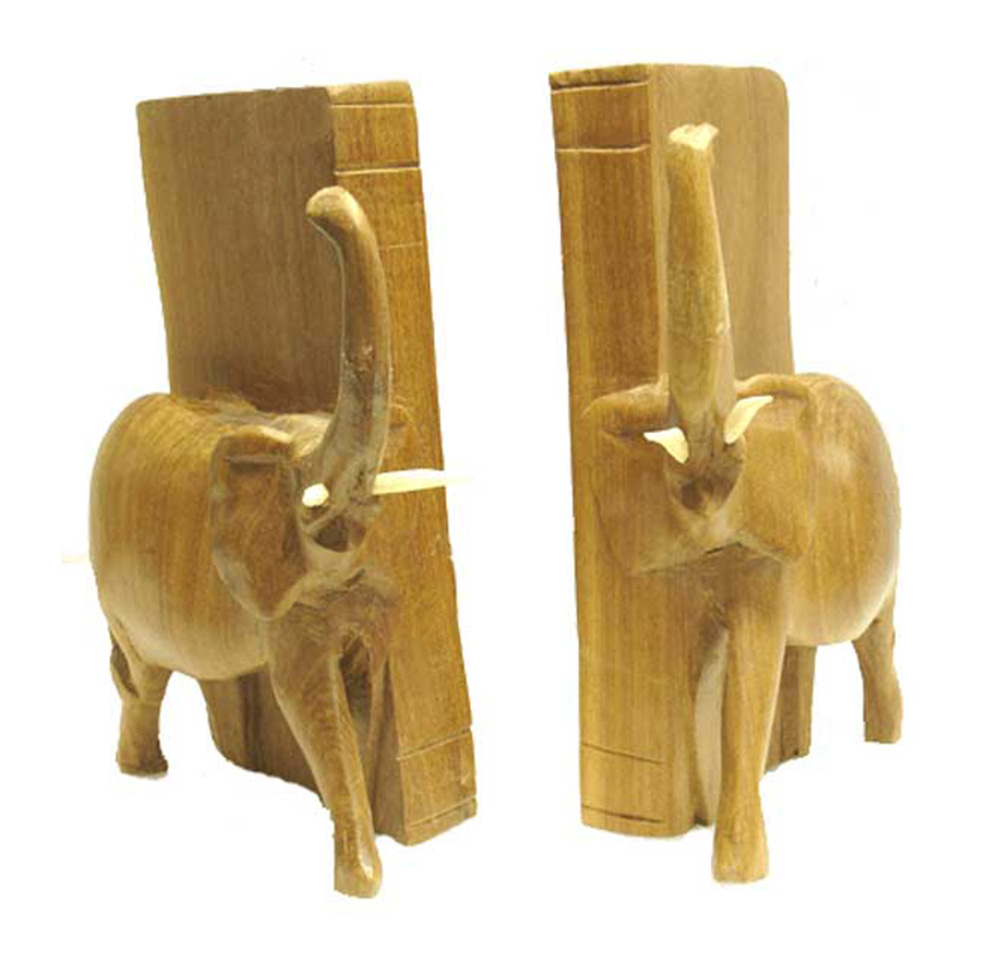 Pair of 8 Inch High Hand Carved Wooden Elephant Bookends