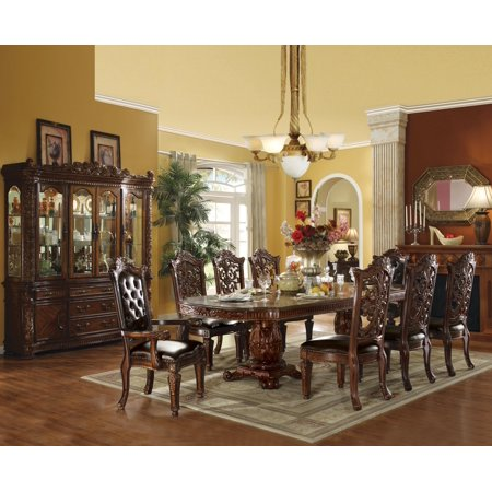 - ACME Vendome Dining Table w/Double Pedestal, Cherry (1Set/3Ctn)-Color:Cherry,Quantity:1,Style:Vintage/Traditional/Victorian