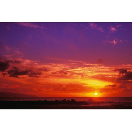 Image of Hawaii Oahu North Shore Sunset Canvas Art - Vince Cavataio Design Pics (34 x 22)