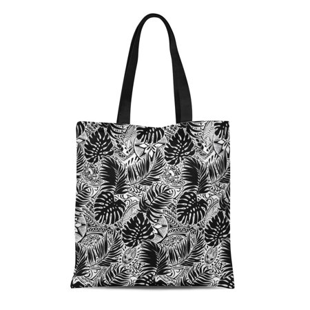 SIDONKU Canvas Tote Bag Tropical Polynesian Leaves and Tribal in Black White Tattoo Reusable Shoulder Grocery Shopping Bags