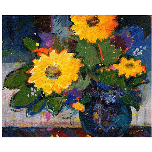 "Trademark Art ""Three Yellow Flowers"" Canvas Art by Sheila Golden, 26x32"