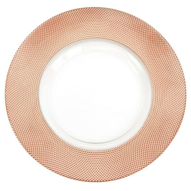 Koyal Whole Bulk Diamond Glass, Mirrored Charger Plates Bulk