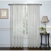2 Pack: Basic Rod Pocket Sheer Voile Window Curtains - Grey
