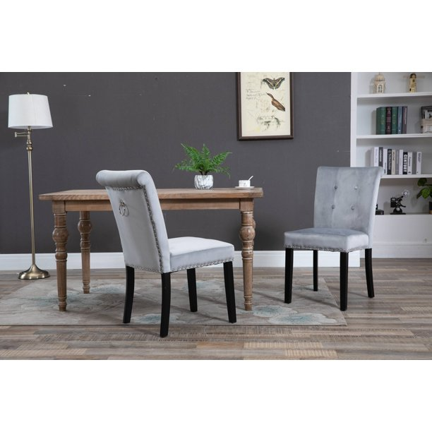 Clearance Tufted Dining Chairs Set Of 2 Segmart Nail Head Trimming Back Dining Chairs W Solid Wood Legs Victorian Inspired For Home Decor 330 Lbs For Home Kitchen Living Room Party Gray S7141 Walmart Com Walmart Com