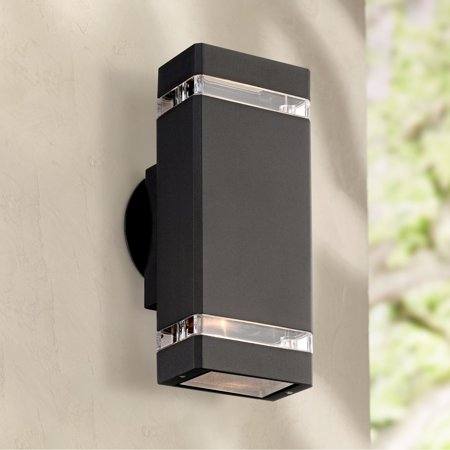 Possini Euro Design Modern Outdoor Wall Light Fixture Black 10 1/2
