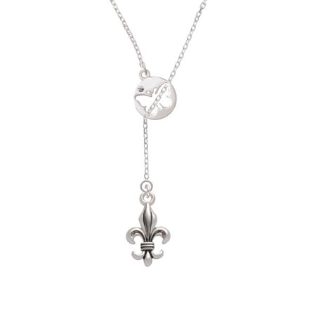 Large Antiqued Fleur di Lis Butterfly Disc Lariat Necklace
