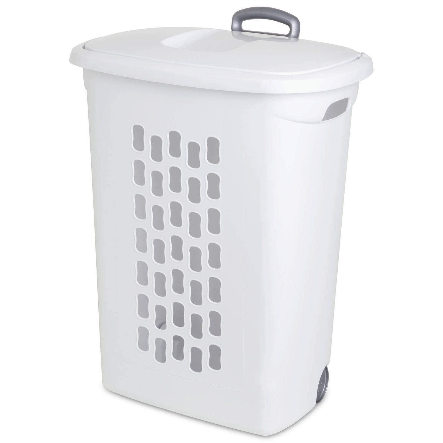 Sterilite Wheeled Laundry Hamper- White (Available in Case of 3 or Single Unit)