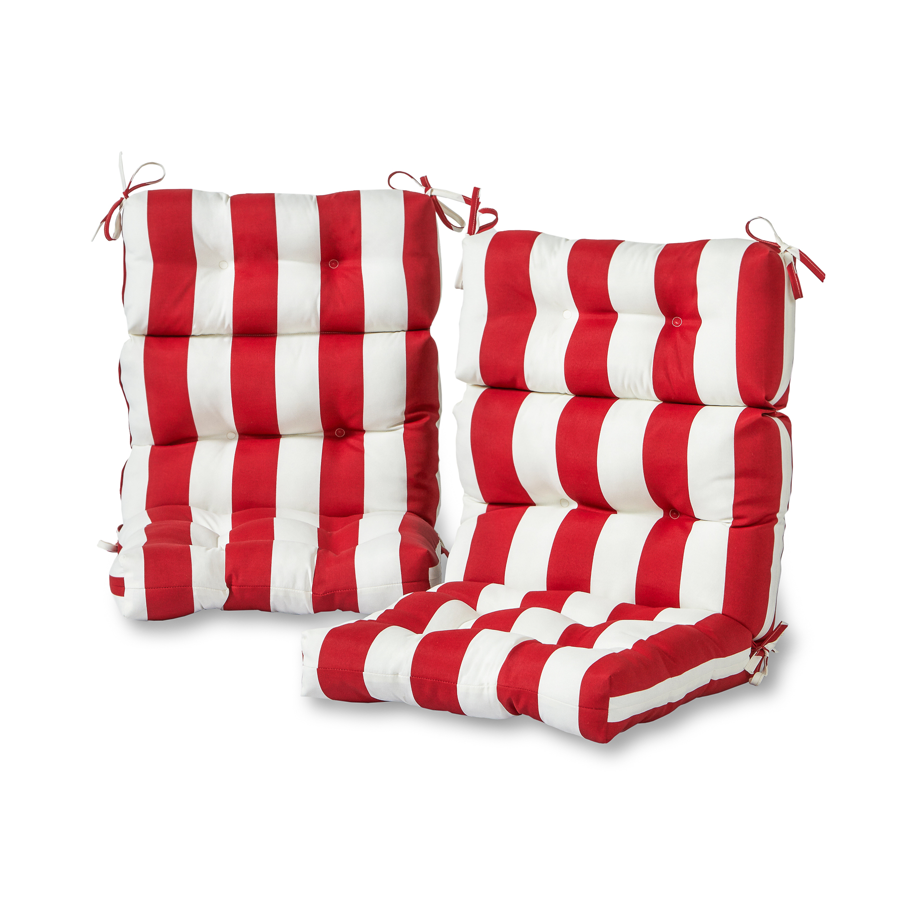 Cabana Stripe Red 44 x 22 in. Outdoor High Back Chair Cushion, Set of 2
