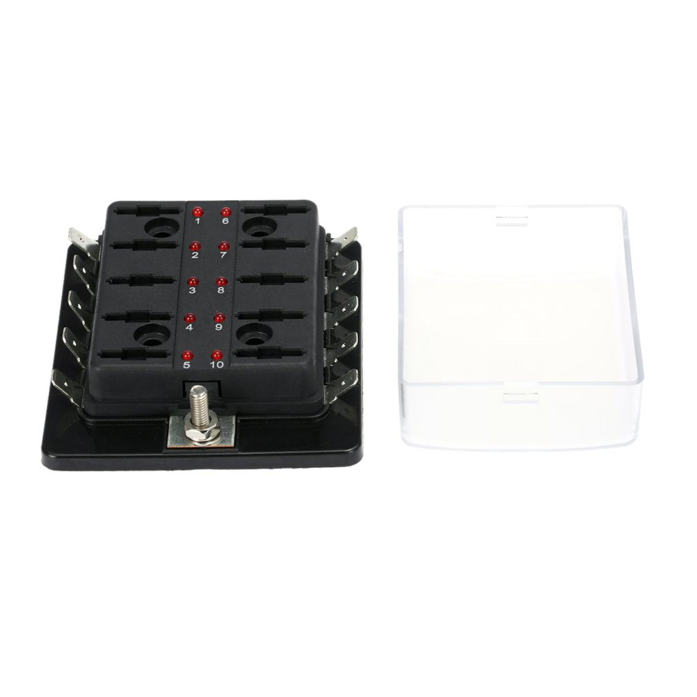 10 Way Car Blade Fuse Box Holder with Red LED Warning Light for Car Vehicle  Boat Marine Trike Blade Fuse Box Holder
