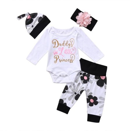 4PCS Newborn Infant Baby Girl Outfits Clothes Set Romper Bodysuit Pants Leggings 0-6 Months Baby Girls Infant Legging