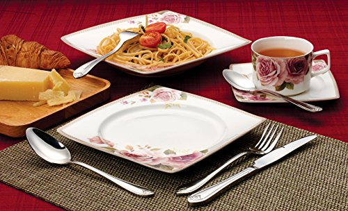 Lorenzo 57 Piece Elegant Bone China Service for 8 Loretta Dinnerware Sets, Multicolor by Lorren Home Trends