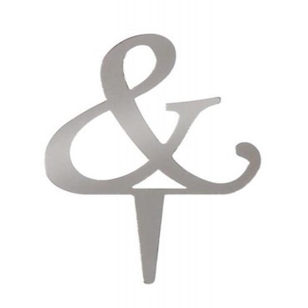Darice VL25ASP Mirror Acrylic Ampersand Letter Wedding Cake Topper with Stake, 2.5-Inch, - Ampersand Cake Topper