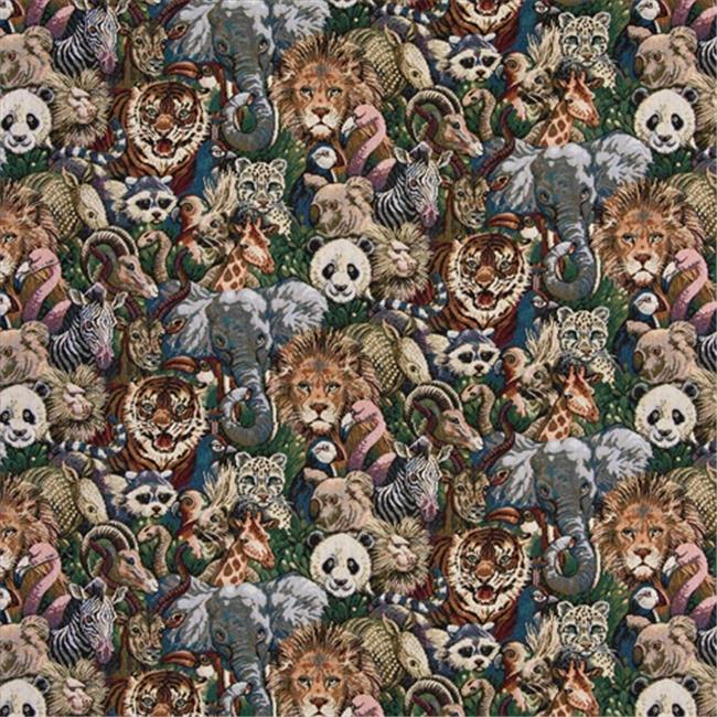 Designer Fabrics A017 54 in. Wide , Lions, Tigers, Elephants, Giraffes, Pandas, Zebras And Pelicans, Themed Tapestry Upholstery Fabric