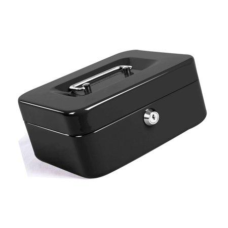 1ec1c1147f93 Jssmst Locking Large Steel Cash Box with Money Tray,Lock Box,Black Black