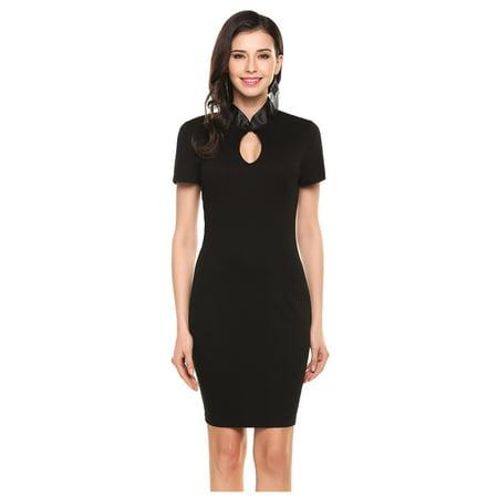 Women Elegant Keyhole Stand Collar Short Sleeve Bodycon Pencil Short Dress RllYE