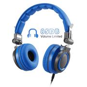 AGPTEK Earphones, 85dB Volume Limit, over Ear, Kids Headphones, Adjustable & Foldable, Blue