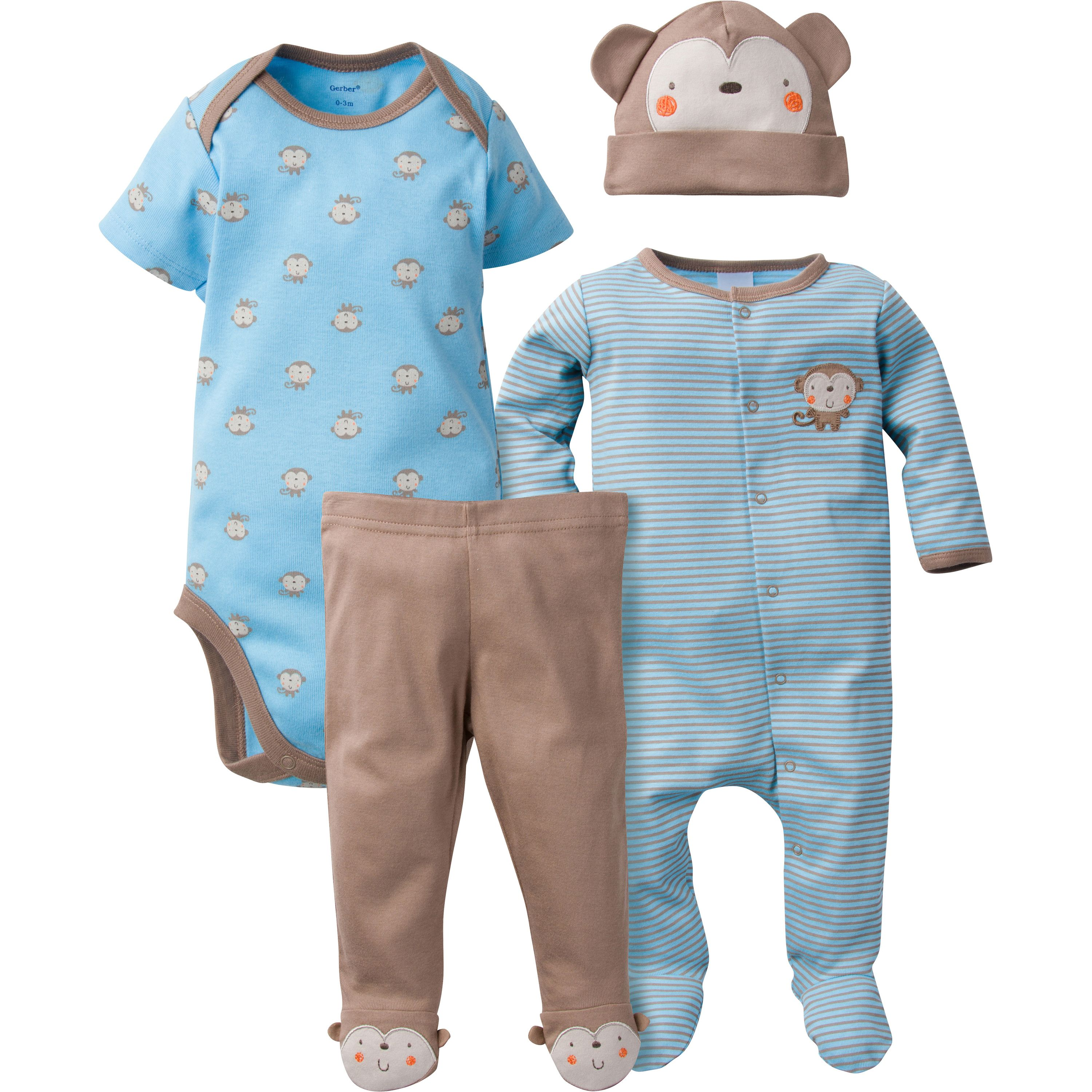 Gerber Newborn Baby Boy Sleep N' Play, Onesies Bodysuit, Pant & Cap, 4pc Set