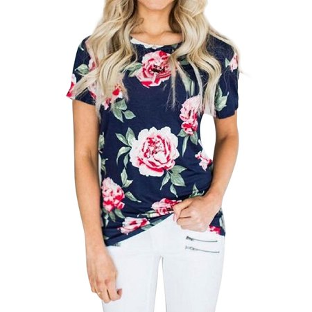 Nlife Women Floral Print Short Sleeve Round Neck (Floral Print Button Front Shirt)