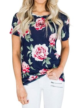 cc55a55a1eb4 Product Image Nlife Women Floral Print Short Sleeve Round Neck T-shirt