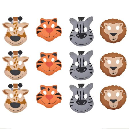 12 Foam Animal Masks 7.5 Inch 4 Different Sorts Of Animals - Good For Kids Costume Parties - By Katzco](Goon Mask)