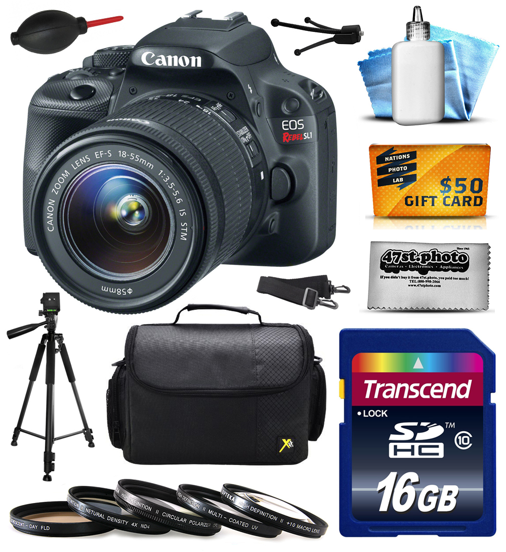 Canon EOS Rebel SL1 Digital SLR with 18-55mm STM Lens includes 16GB Memory + Large Case + Tripod + 5 Piece UV-CPL-FL-ND4-10x Filters + Dust Blower + Cleaning Kit + $50 Gift Card 8575B003