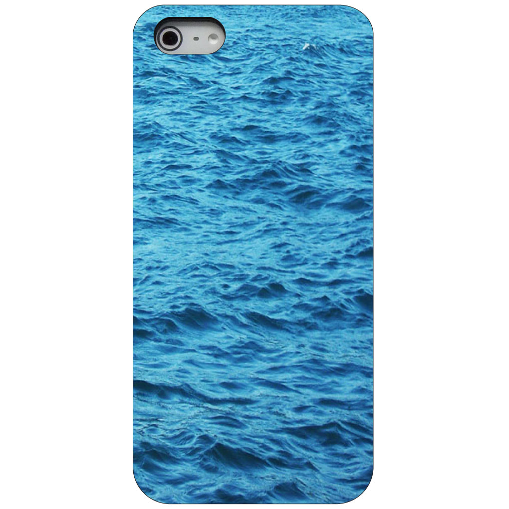 CUSTOM Black Hard Plastic Snap-On Case for Apple iPhone 5 / 5S / SE - Blue Water Ocean Waves